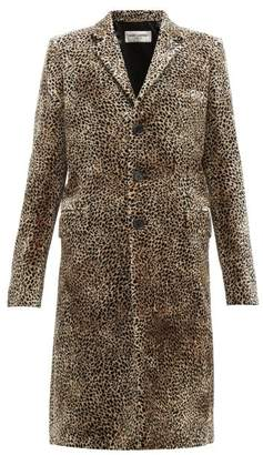 Saint Laurent Leopard Print Single Breasted Velvet Coat - Womens - Leopard
