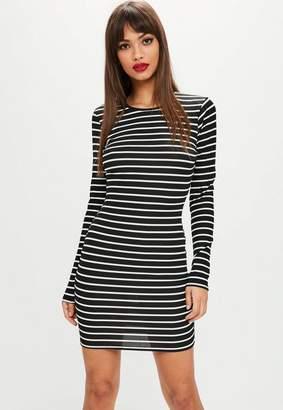 Missguided Black Stripe Ribbed Bodycon Dress