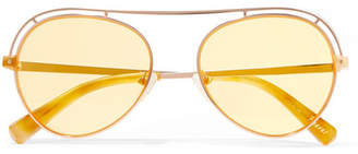 Elizabeth and James Reeves Aviator-style Rose Gold-tone Sunglasses - Yellow