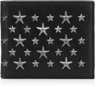 Jimmy Choo MARK Black Leather Billfold Wallet with Gunmetal Stars