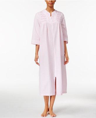 Miss Elaine Smocked Seersucker Zip-Front Long Robe $68 thestylecure.com