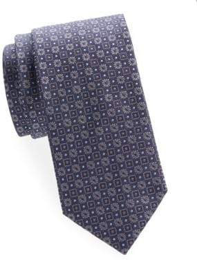 Brioni Square and Floral Silk Tie