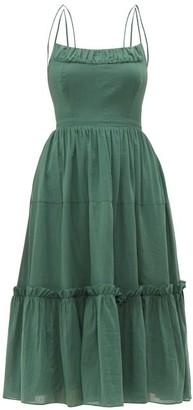 Loup Charmant Alghero Crossed Back Cotton Midi Dress - Womens - Green