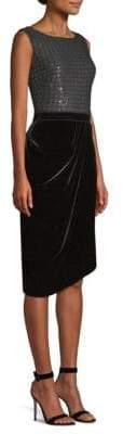 St. John Sprinkled Sequin& Velvet Sheath Dress