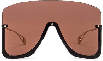 Gucci Shiny Big Sunglasses in Brown   FWRD