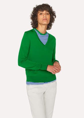 Paul Smith Women's Green Wool V-Neck Sweater