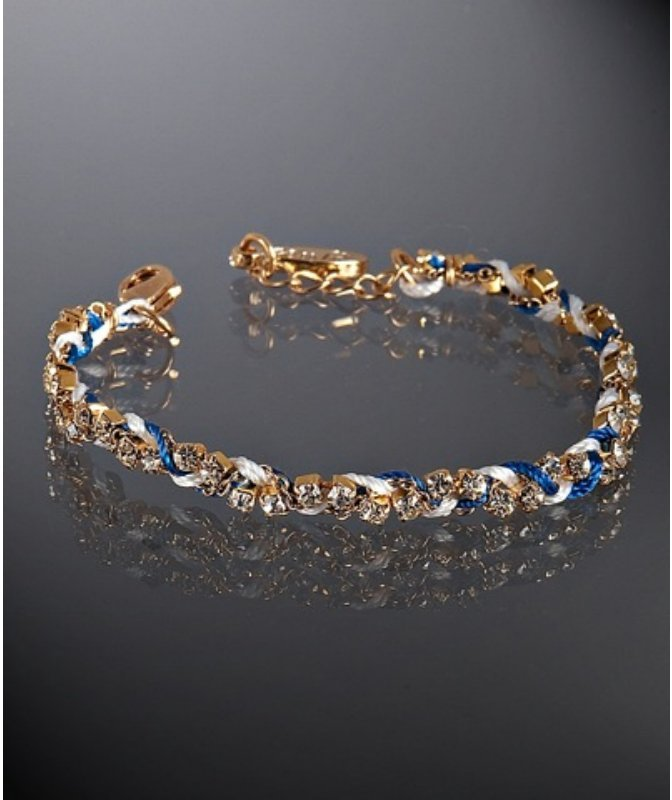 Ettika blue and white crystal silk combo braided bracelet