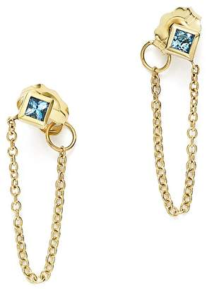 Chicco Zoë 14K Yellow Gold Draped Chain Stud Earrings with Aquamarine - 100% Exclusive