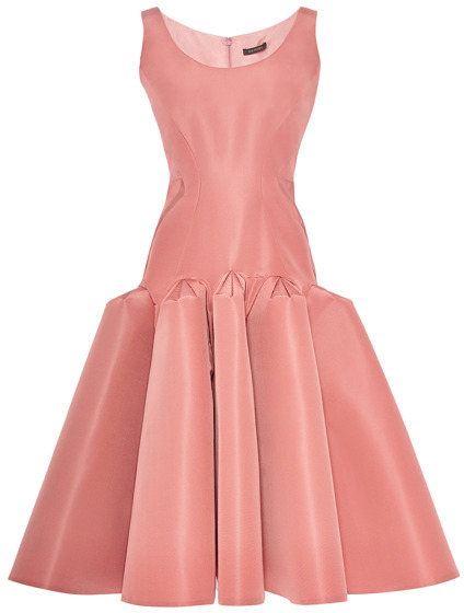 Zac Posen Pleated Hip Silk-Faille Dress Spring Rose