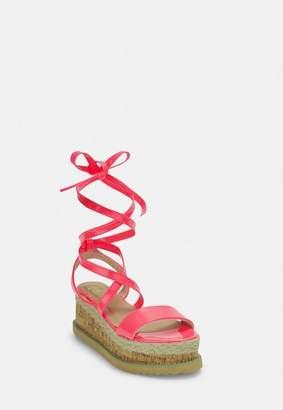 Missguided Neon Pink Lace Up Flatform Espadrilles