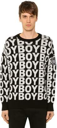 Boy London Logo Jacquard Wool Blend Knit Sweater