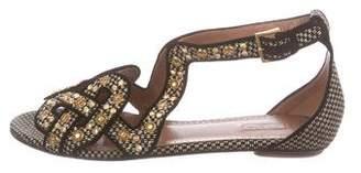Alaia Studded Raffia Sandals w/ Tags