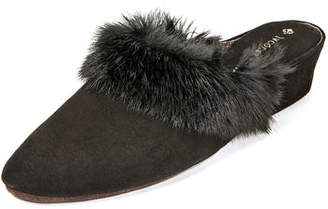 10f4f3598fc Jacques Levine Suede Wedge Mule Slippers w  Fur Trim