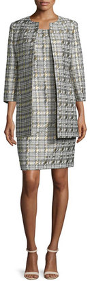 Albert Nipon Houndstooth Jacquard Jacket & Sheath Dress Set $395 thestylecure.com
