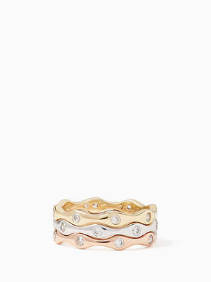 Kate Spade Heavy metals wave stackable ring set