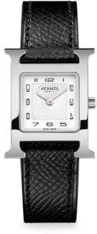 Hermes Heure H Stainless Steel & Leather Strap Watch