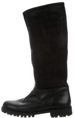 Salvatore Ferragamo Suede Shearling Boots