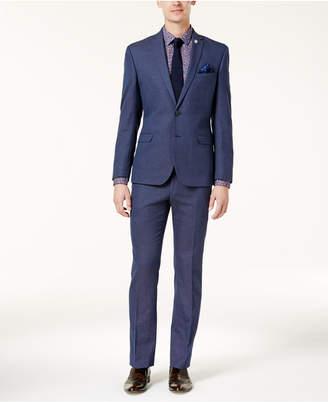 Nick Graham Men's Slim-Fit Stretch Bright Blue Pin-Dot Suit