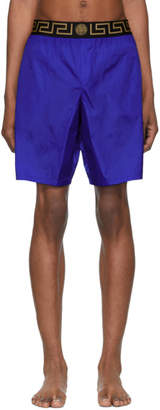 Versace Underwear Blue Greca Border Swim Shorts