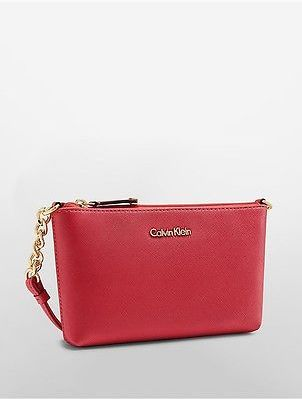Calvin Klein Calvin Klein Womens Saffiano Leather Crossbody Bag Watermelon