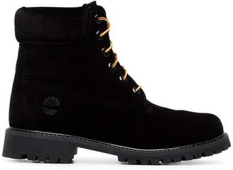 X Timberland black velvet boots
