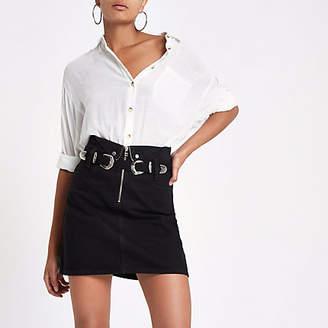 River Island Black zip front mini denim skirt