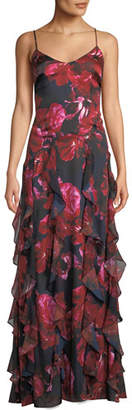 Parker Black Equinox Floral Gown w/ Cascading Ruffles