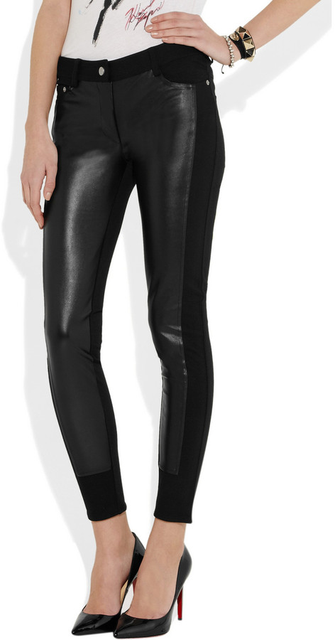 Karl Lagerfeld Patricia faux leather-paneled jersey skinny pants