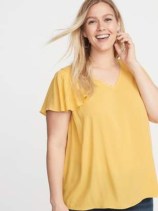 027dc04f410 Old Navy Flutter-Sleeve Plus-Size Blouse