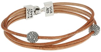 King Baby Studio - Multi Strand Brown Leather Cord Bracelet w/ Hook Clasp and Stingray Beads  Bracelet $209 thestylecure.com