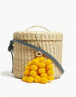 A.N.A Nannacay Ladies White and Yellow Striped Blossom Straw Cross-Body Bucket Bag