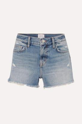 Current/Elliott The Boyfriend Distressed Denim Shorts - Mid denim