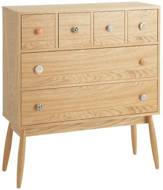 Fleur Oak 6 drawer chest with patterned ceramic handles