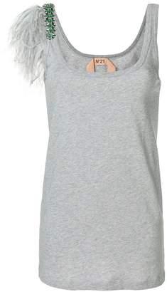 No.21 embellished sleeve tank top
