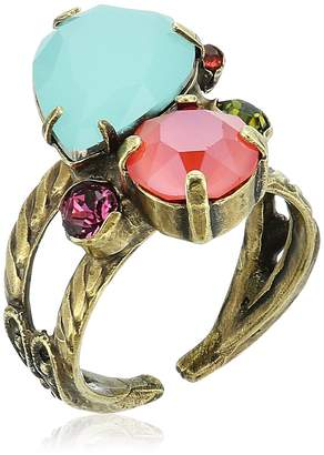 Sorrelli Botanical Brights Tilted Teardrop Cluster Double Band Ring, Size 7-9