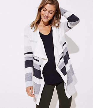 LOFT Striped Draped Open Cardigan