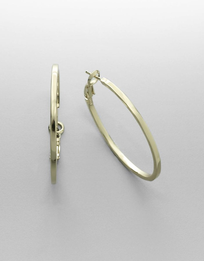 Lord & Taylor 18K Gold-Plated Square-Side Hoop Earrings