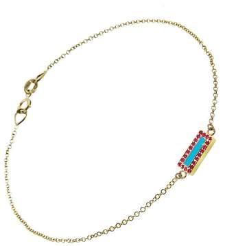 Jennifer Meyer Turquoise and Ruby Bar Inlay Bracelet