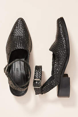 Freda Salvador Woven Ankle Strap Flats