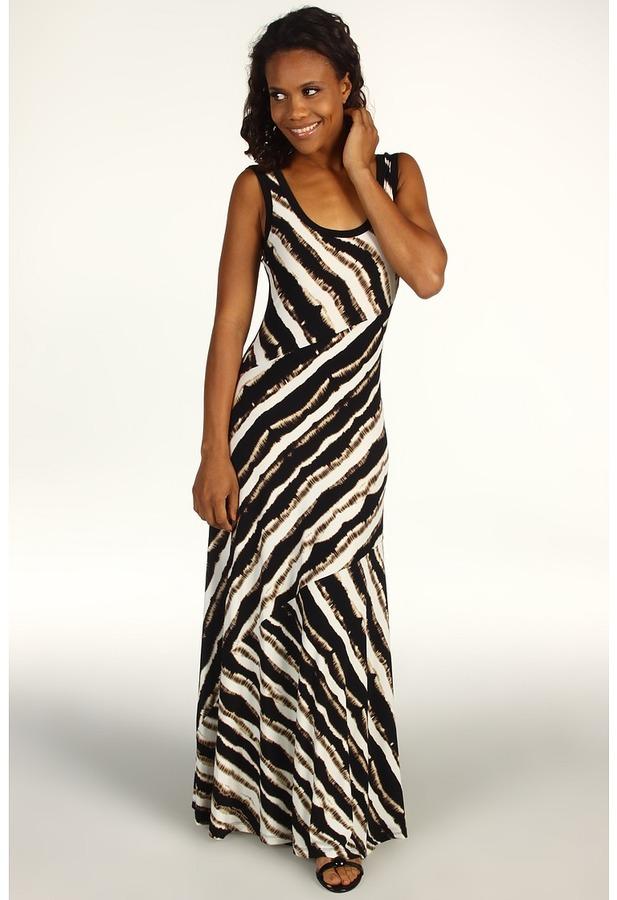 Calvin Klein Blurred Stripe Printed Maxi Dress (Eggshell/Black) - Apparel