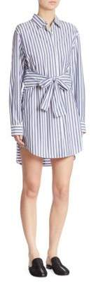 T by Alexander Wang Tie-Front Striped Shirtdress