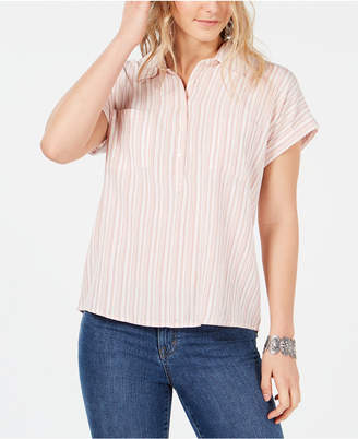 Style&Co. Style & Co Striped Chest-Pocket Casual Top