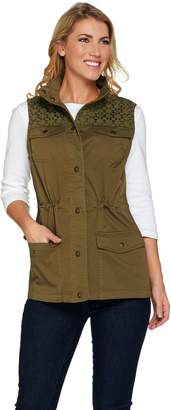 Denim & Co. Snap Front Vest with Eyelet Yoke Detail