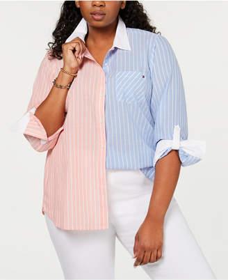 Tommy Hilfiger Plus Size Cotton Two-Tone Striped Shirt
