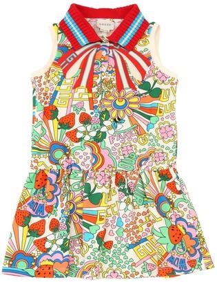 Gucci Rainbow Print Cotton Piqué Dress