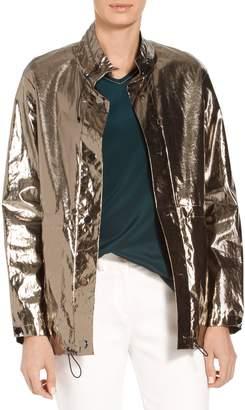 St. John Laminated Metallic Outerwear Jacket