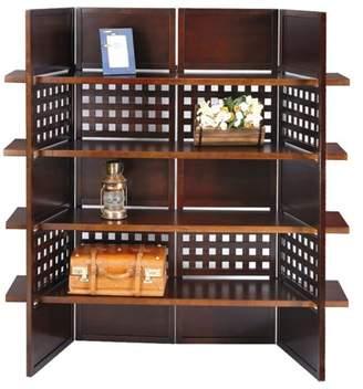 Ore International 4-Panel Book Shelves Walnut Finish Room Divider