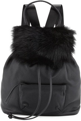Elizabeth and James Langley Fur-Flap Leather Backpack, Black $595 thestylecure.com