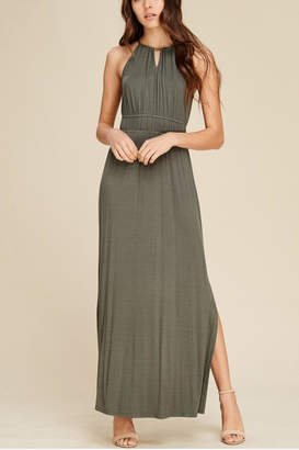 Staccato Olive Slit Maxi