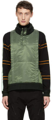 Craig Green Black and Green Ridge Knit Zip-Up Sweater